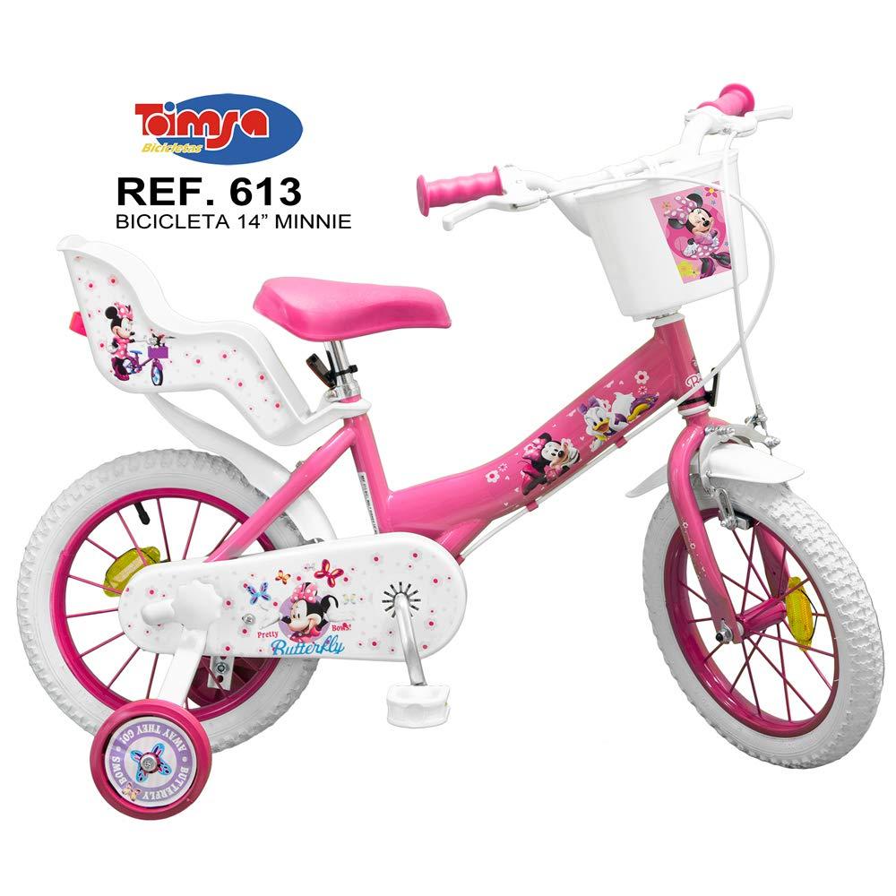 Bicicleta Toimsa Minnie de 14 para la edad de 4 a 6 años. Tiene portabebés en la parte trasera y una cesta para poner tus objetos en la parte delantera, frenos delanteros y traseros y asiento regulable en altura 613