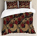 Is Eastern King the Same As King King Size Asian 3 PCS Duvet Cover Set, Traditional Ancient Design Roses and Dragon Eastern Chinese Pattern, Bedding Set Bedspread for Children/Teens/Adults/Kids, Red Sand Brown Jade Green