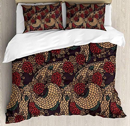 - LALADecor Asian 3 Pieces Duvet Cover Set Traditional Ancient Design Roses and Dragon in Eastern Chinese Theme Pattern Bedding Set (1 Duvet Cover+2 Pillow Shams) King Size, Red Sand Brown Jade Green