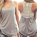Gillberry Women Summer Lace Vest Top Short Sleeve Blouse Casual Tank Top T-Shirt