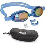 Kinder Schwimmbrillen, rutschfest, wasserdicht, lecksicher, qualitativ hochwertig, farbige Silikon-Kopfriemen, vernebeln nicht, farbige Gläser, einstellbarer Nasensteg