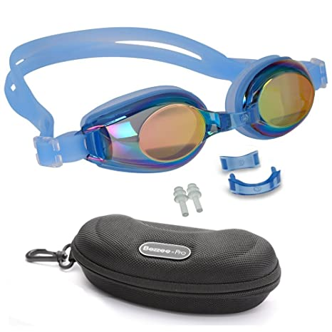 Bezzee-Pro Kinder Schwimmbrillen, Rutschfest, wasserdicht, lecksicher, qualitativ hochwertig, farbige Silikon-Kopfriemen, ver
