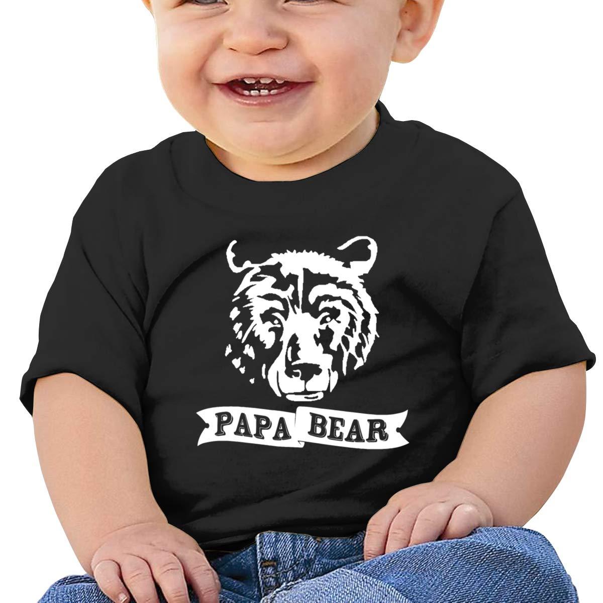 Papa Bear Head Short-Sleeve Tshirt Baby Girls