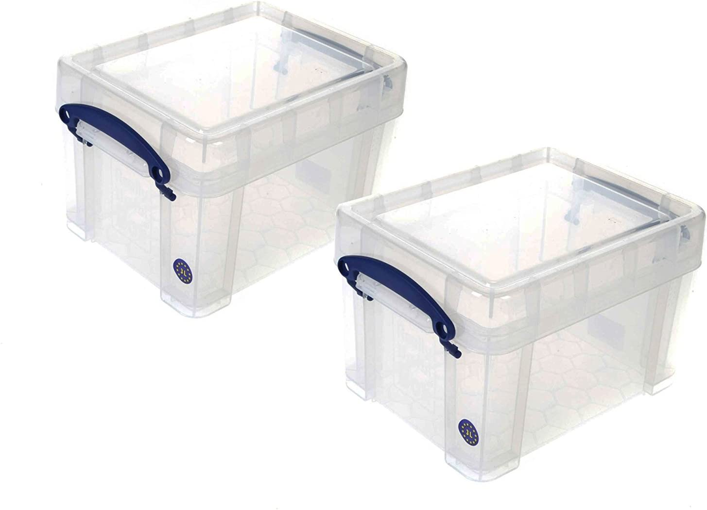 Really Useaful Plastic Storage Boxes (Clear, 3 Litre Pack of 2)