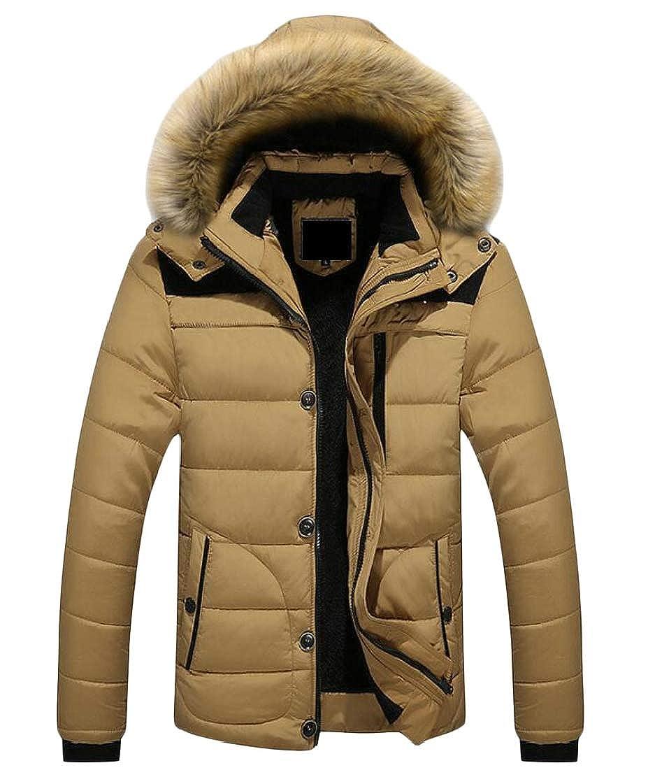ouxiuli Mens Warm Coats Winter Jackets Hooded Faux Fur Outwear