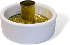 BCandle Porcelain and Brass Candlestick Holder, 1 Inch Height 1 7/8 Inch Diameter. for Taper Candles 3/8 to 7/16 Inch Diameter (1)