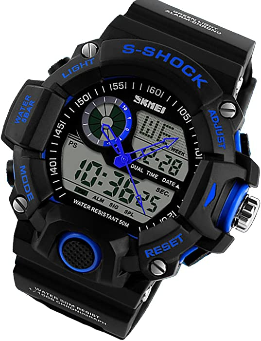 Quartz Digital Camo Waterproof Watch Dual Time Man Sports Watches Luxury Reloj Hombre Blue