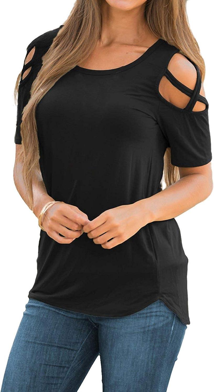 Camisetas de Manga Corta para Mujer Hombro Frío Blusas con Cuello Redondo sin Hombro Tops Camisa Elegante Casual Color Liso T-Shirt
