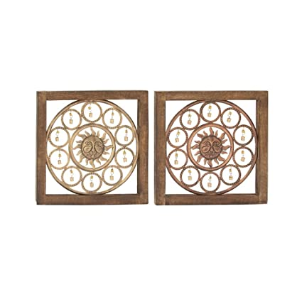 1a9efc3626 Amazon.com: Deco 79 24312 Wood Metal Wall Panel, 17