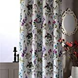 Anady Top Purple/Blue Leaf Curtains Blackout Flower Bedroom Drapes Grommet Top 42″ 84″ Long Review