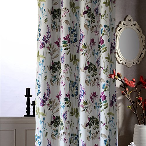Cheap Anady Top Purple/Blue Leaf Short Curtains Blackout Flower Bedroom Drapes Grommet Top 30″ 24″ Long