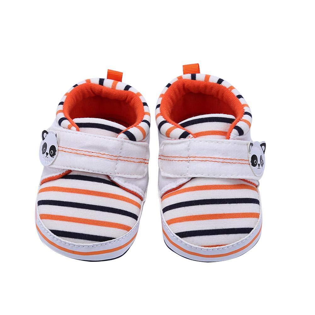 Amazingdeal Cute Stripe Girl Canvas Shoes Infant Anti-Slip Baby Prewalker (White 12cm) by Amazingdeal