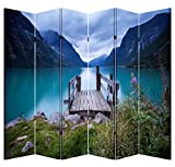 6 Panel Folding Screen Canvas Privacy Partition Divider- Lake Dock