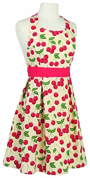 Old Fashioned Aprons & Patterns Kitchen Style by Now Designs Ella Apron Cherries $24.60 AT vintagedancer.com