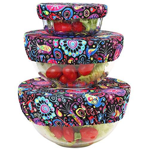 - Wegreeco Reusable Bowl Covers - Set of 3,Bloom