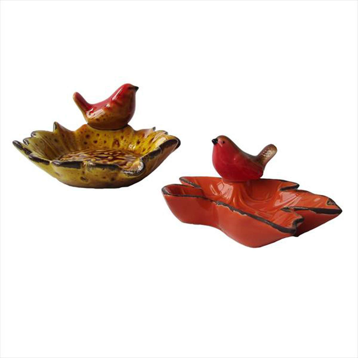 Midwest-CBK Bird Red and Brown 4 x 4 Ceramic Harvest Decorative Dish Tray Set of 2
