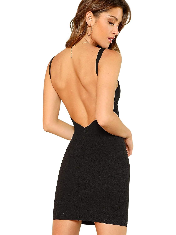 SOLY HUX Damen Spaghetti-träger Rückenfrei Figurbetont Kleid Ärmlos mit Reißverschluss Sommerkleid Minikleid Party Kleider