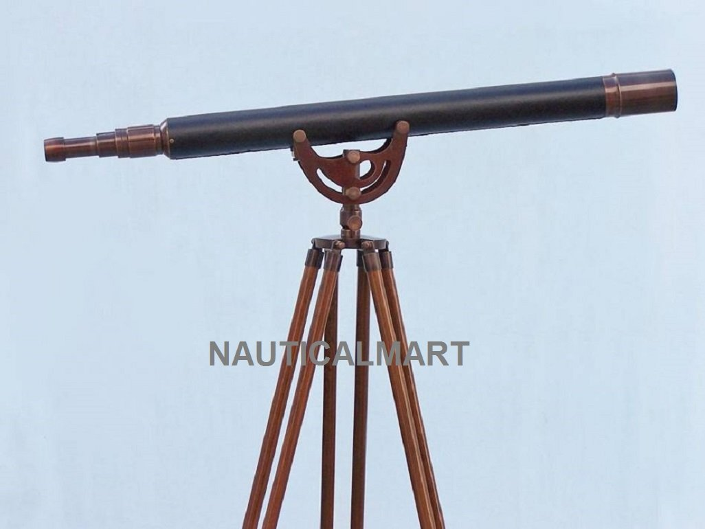 Floor Standing Antique Copper with Leather Anchormaster Telescope 50''By Nauticalmart