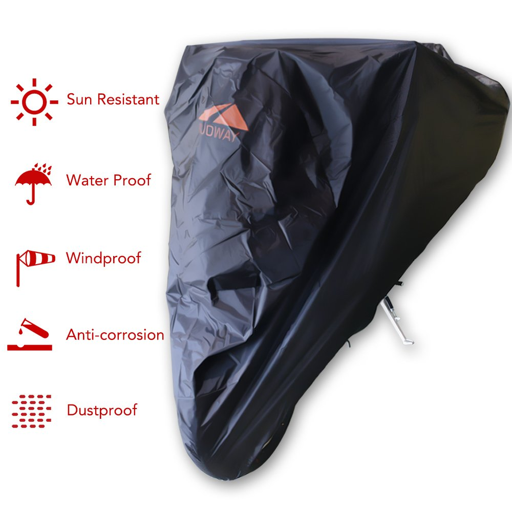 Goodway Motorcycle Cover Waterproof 2 Lock Holes 190T XXXL Universal Fit up to 104'' Honda Yamaha Suzuki Harley BMW Sportbike