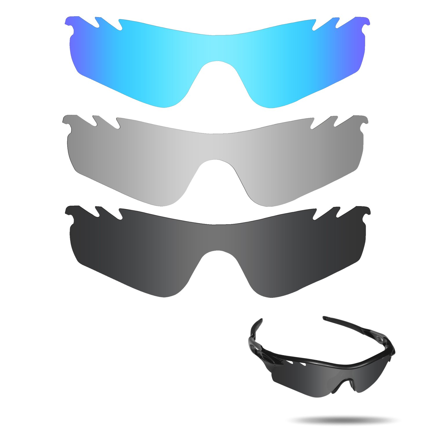 764932b3e5 Amazon.com   Fiskr Anti-Saltwater Polarized Replacement Lenses for Oakley  RadarLock Path Vented 3 Pair Pack   Sports   Outdoors