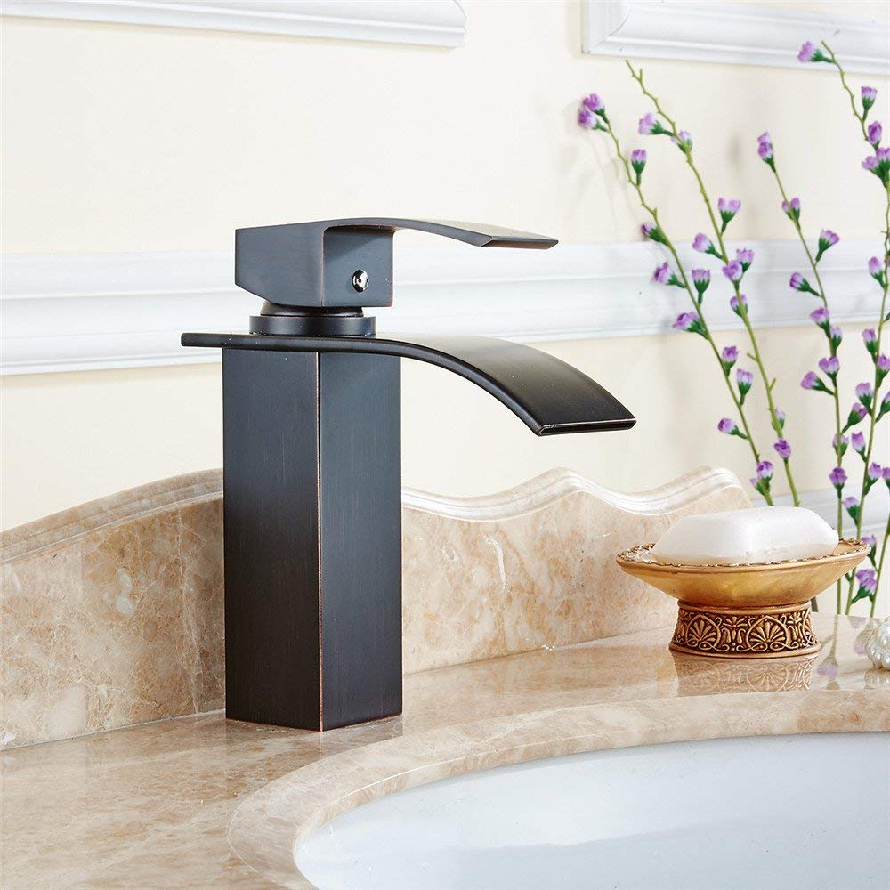 SEEKSUNG Sink Taps The Copper Black 古 Quartet Faucet Basin Wash Basin Cold Water Tap Basin Faucet Waterfall Faucet G1 2