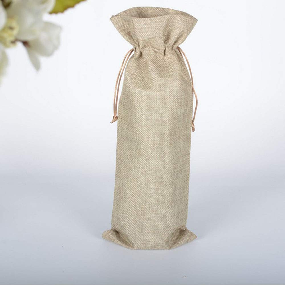 10pcs Jute Wine Bags, 14 x 5.9 inches Burlap Wine Bags, Hessian Wine Bottle Gift Bags with Drawstring, Perfect for Travel Wedding Birthday (Brown) JoYous Craft