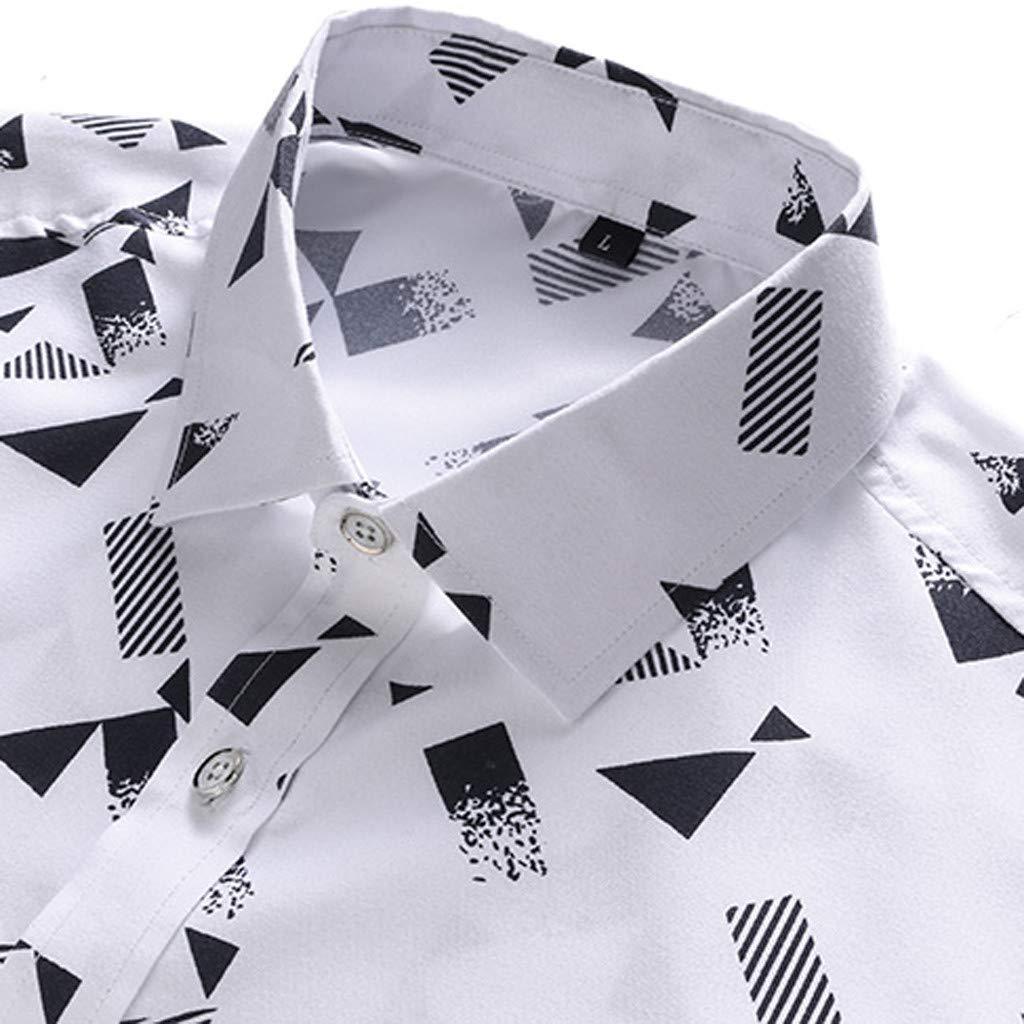 Fabal Mens Summer Business Leisure Short-Sleeved Plus Size Printing Shirt