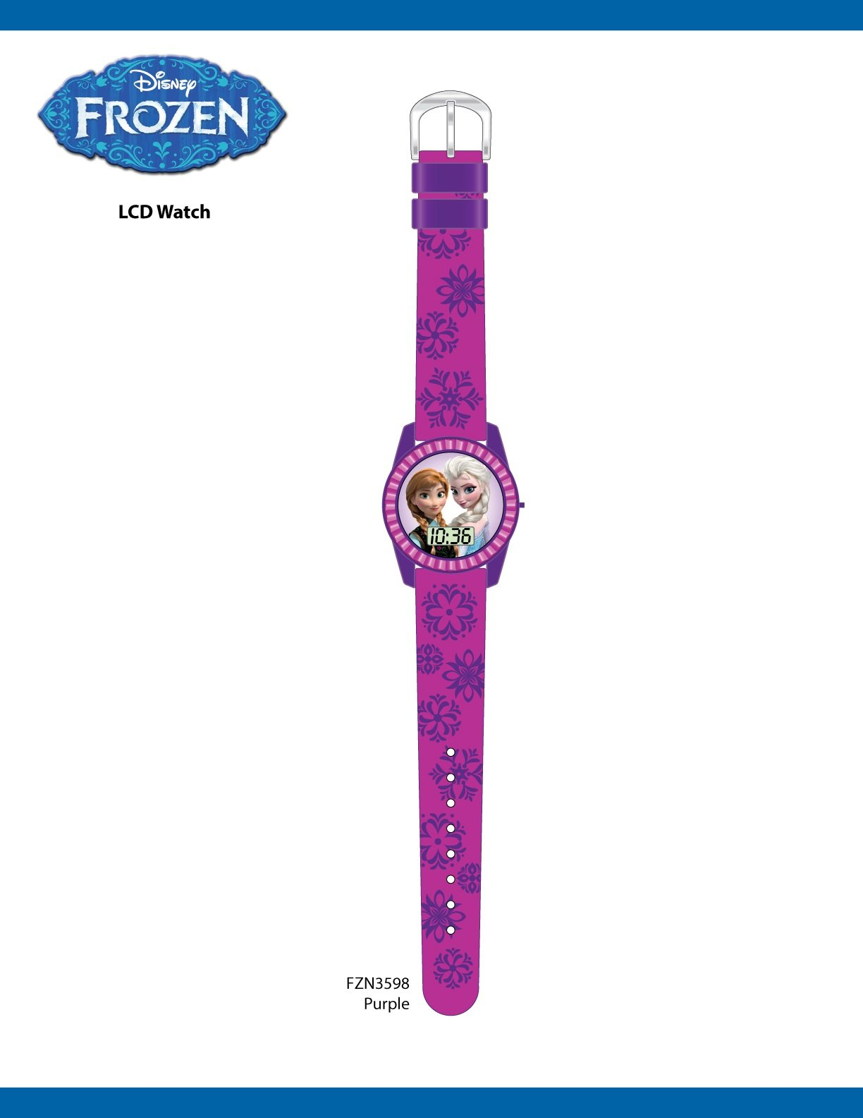 Disney's Frozen Kids' Digital Watch with Elsa and Anna on the Dial, Purple Casing, Comfortable Pink Strap, Easy to Buckle, Safe for Children – Model: FZN3598