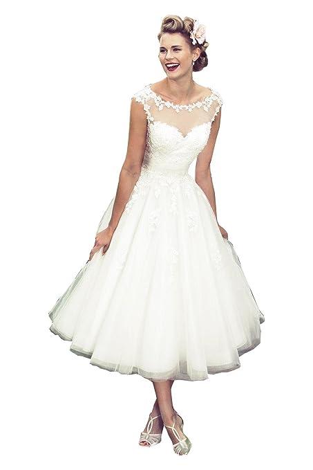 Fenghuavip Round Collar Cap Sleeves White Mid Calf Bridal Wedding