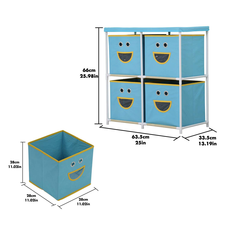 Organizer mit L/ächeln Abnehmbarer Vliesstoffbeh/älter Schublade Schublade Organizer 4-Drawer MULSH Aufbewahrungsregal blau