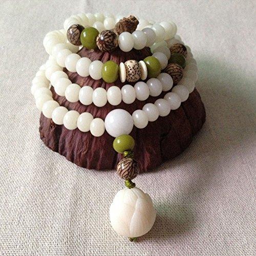 Generic sweater chain _carved_ white jade _lotus_root_Bodhi_ long necklace Pendant beads man _playing_ men's bracelet women girl _models_multi-turn_108