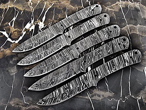 ColdLand | LOT OF 5 Handmade Damascus Steel Blank Blades Knife Making Supplies LOT5xSB87