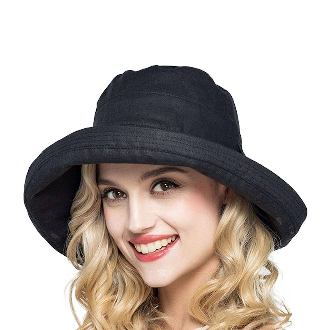 LLmoway Women Safari Sun Hat UPF50 Roll Up Cotton Wide Brim Floppy Foldable Beach Hat with Bow Black