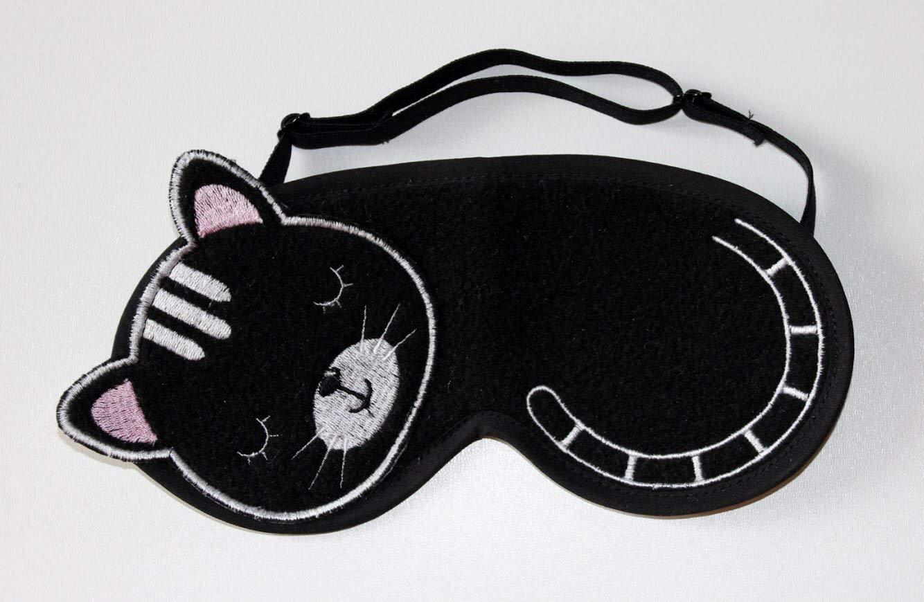 Cat Ears Sleep Mask Cat Lover Gift Cat Sleep Mask with Hearts Black Blindfold for Sleeping Travel Eye Mask Relaxation Sleep Blindfold