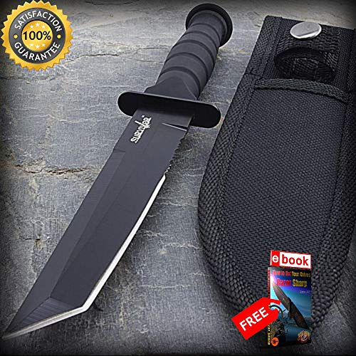 7.5'' MILITARY TACTICAL TANTO COMBAT SHARP KNIFE with SHEATH Survival Hunting Fixed Blade Combat Tactical Knife + eBOOK by Moon Knives