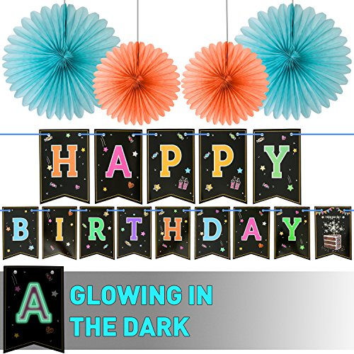 LIDERSTAR Happy Birthday Banner With 4 Fans,Glow In The Dark UV Party Decoration .Happy Birthday Glowing bunting Carnival/Kids Party Supplies Favors Colors Hanging Decoration Decorate That Special Birthday Cake