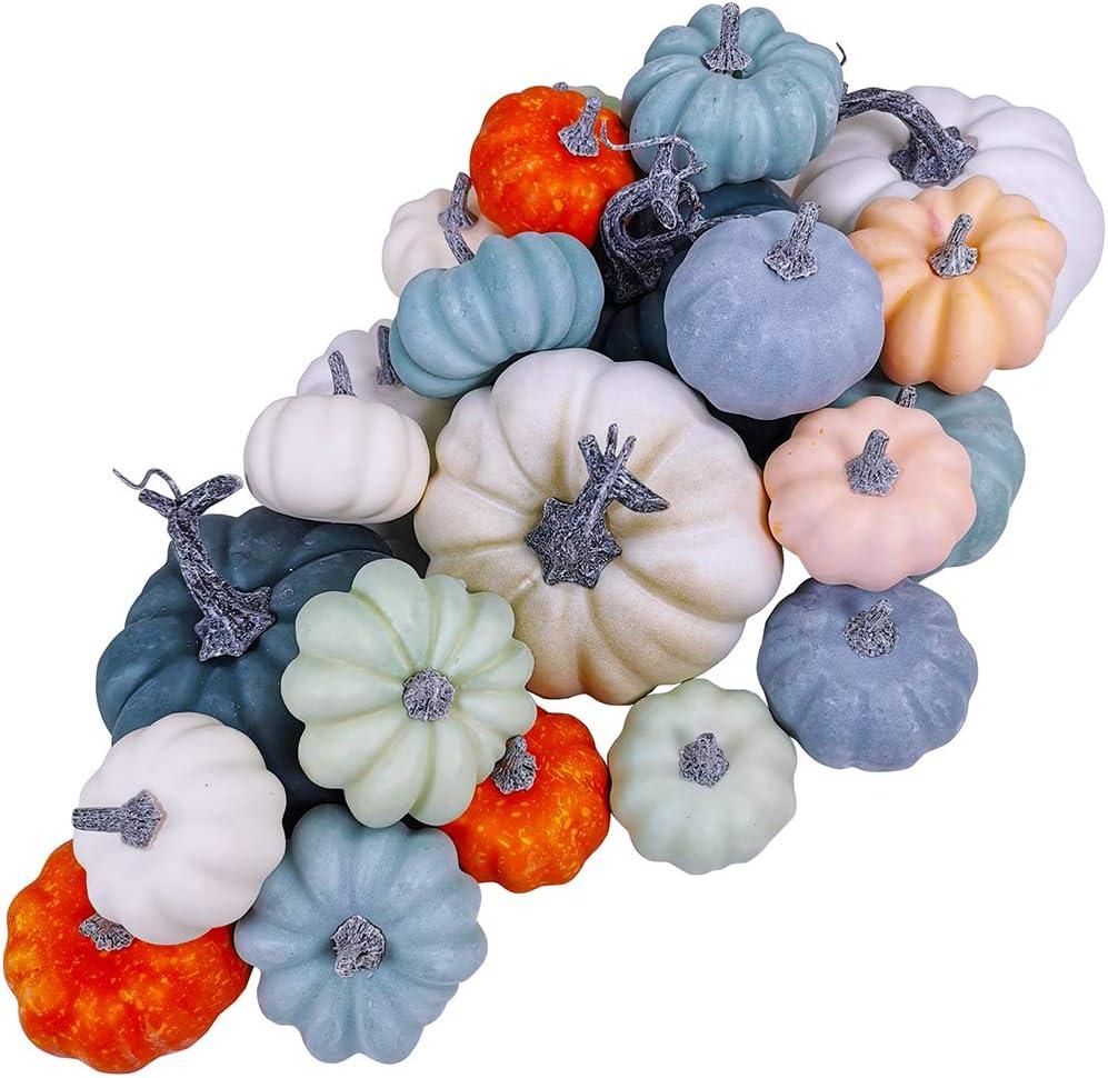 24 Pcs Bulk Assorted Rustic Harvest Artificial Blue Pumpkins Foam Pumpkin in White Orange Green Teal for Fall Autumn Halloween Decoration Thanksgiving Party Home Kitchen Decor Baby Shower Wedding