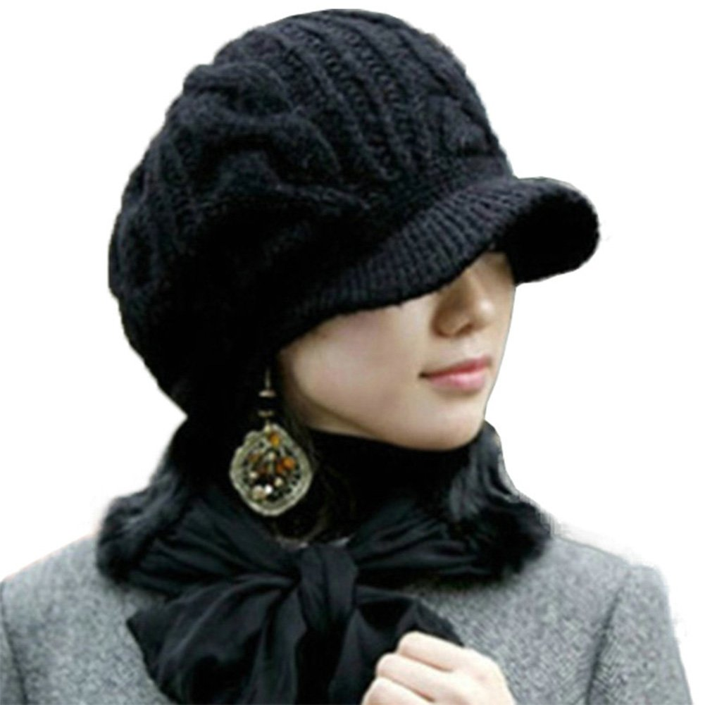 Amazon.com  SIGGI 100% Merino Wool Newsboy Cap Winter Hat Black Beret with  Visor Cold Weather Knit Jeep Cap  Clothing 0f1d2e51ef5