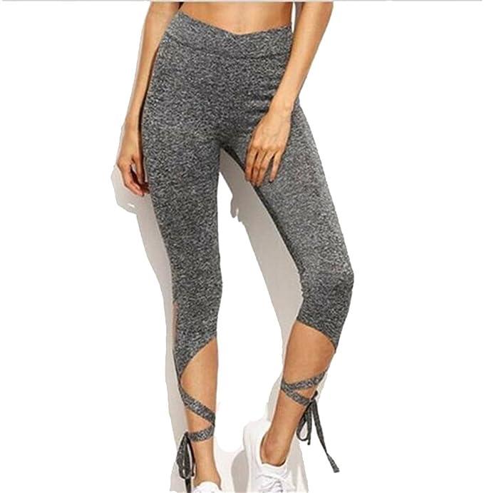ae81a7a8f1c61 Trendy Grey Bandage Sporty Pants High Waisted Butt Lift Leggings ...