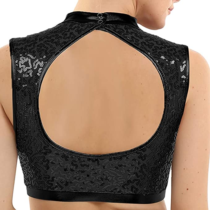 CHICTRY Womens Girls Workout Sports Bra Mock Neck Sequins Support Wireless Yoga Bras Top