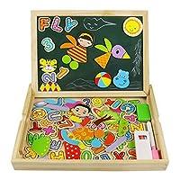 Puzzle Magnetico Legno Giocattolo di Legno Bambini con Double Face Magnetica Lavagna  Legno 93 pcs Tavolo Giochi Bambini 3 anni 4 anni 5 anni