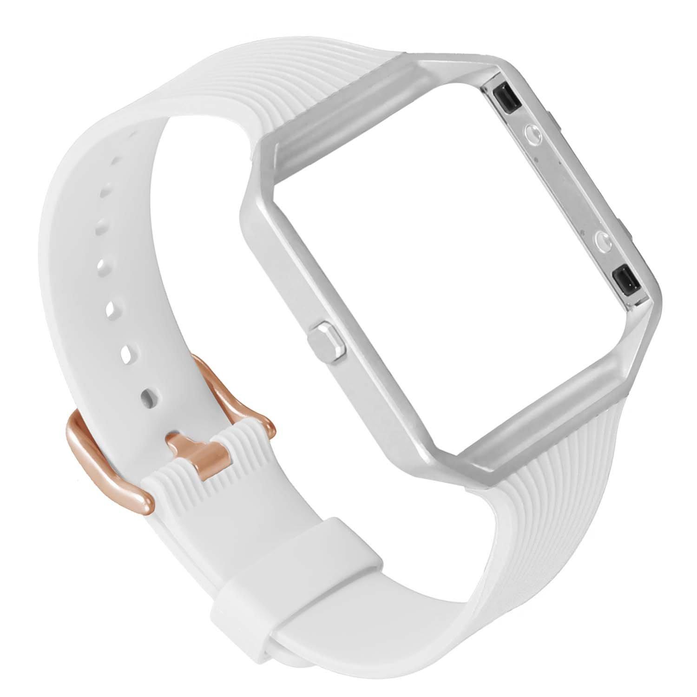 For Fitbit Blazeスリムバンド、eseekgoソフトシリコン交換用ストラップwithメタルフレームfor Fitbit Blazeスポーツリストバンド(トラッカーなし) B076F96B2M White Band with Rose Gold Clasp+Silver Frame