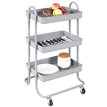 Amazon.com: BeUniqueToday - Carro de cocina de 3 niveles ...