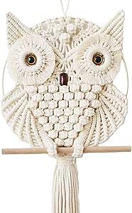 Achart Owl Macrame Wall Hanging Tapestry Macrame Wall Decor Handmade Woven Wall Hanger Boho Ornament Wall Art Home Decor Office Living Room Bedroom Nursery Craft Decorations (Beige, 12'' x 30'')