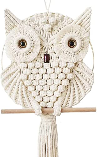 Achart Owl Macrame Wall Hanging Tapestry Macrame Wall Decor Handmade Woven Wall Hanger Boho Ornament Wall Art Home Decor Office Living Room Bedroom Nursery Craft Decorations Beige, 12 x 30