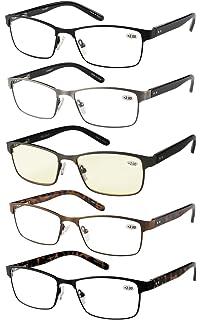 210469162b Amcedar 5-Pack Metal Frame Reading Glasses Men Stainless Steel Material  Spring Hinges…