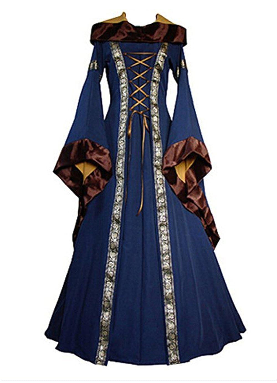 Medievale Victorienne Lacets Robe de Soiree Bal a Capuche Halloween Reine Robe Snuter