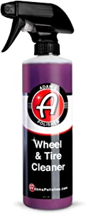 Adam's Wheel & Tire Cleaner (16oz) - Car Detailing Tire & Wheel Cleaner Car Cleaning Formula | Chrome Aluminum Clear-Coated Painted Polished & Plasti-Dipped Rim Cleaner | Tire Brush Wheel Brush Woolie