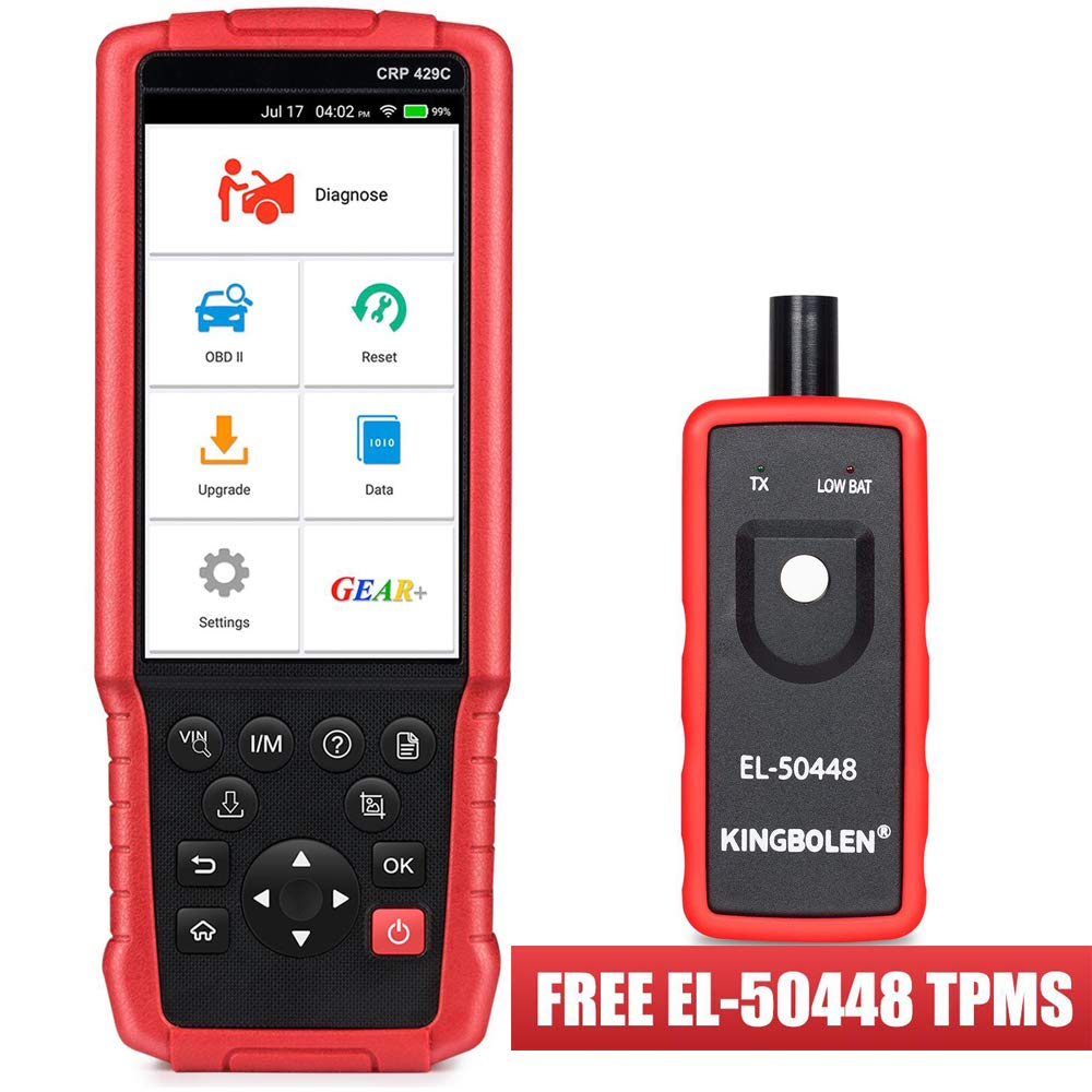 LAUNCH CRP429C OBD2 Diagnostic Scan Tool ENG/TCM/ABS/SRS with Oil Lamp Reset,ABS Bleeding,EPB,DPF Regeneration,IMMO,Injector Coding,BMS,TPMS Reset,SAS+EL50448 TPMS As Gift