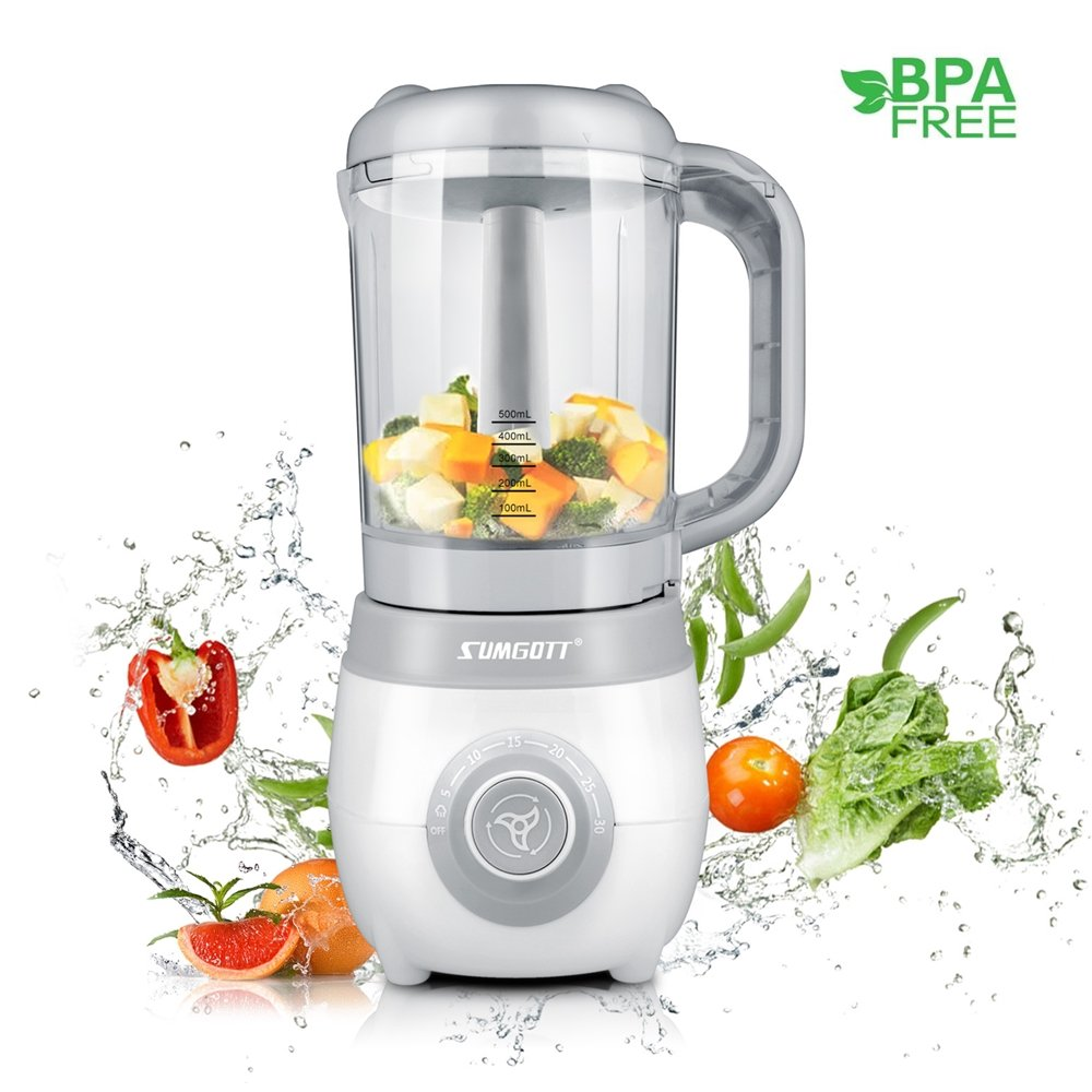 SUMGOTT Baby Food Maker - 4 in 1 Baby Food Steamer and Blender with Steaming, Blending, Defrosting and Heating Multifunctions Food Processor